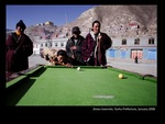 Four men playing snooker, Ziewu townsite, Yushu Prefecture
